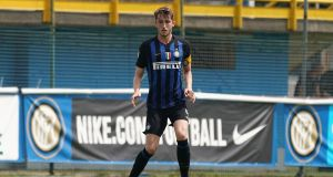 Ryan Nolan in action for Inter Milan under-19s during a  Serie A Primavera match against US Citta di Palermo at Stadio Breda on May 25th, 2019. Photograph: Claudio Villa – Inter/FC Internazionale via Getty Images