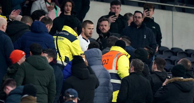 Tottenham Hotspur's Eric Dier in the stands after the defeat to Norwich City in Wednesday's FA Cup tie at Tottenham Hotspur stadium. Photograph:  PA Wire