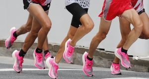 "Marathon runners using the controversial marathon shoe competing in Tokyo. ""Essentially equipment should not come into the equation, whether that's the 100m or the long jump or the marathon,"" said John Treacy. Photograph:  Kyodo News/Getty Images"