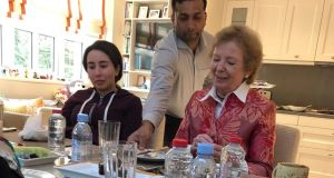A handout image provided by United Arab Emirates News Agency (WAM) on December 24th, 2018 shows Sheikha Latifa bint Mohammed bin Rashid al-Maktoum having a meal with former president of the Republic Mary Robinson in Dubai. Photograph: AFP/Ho/Wam