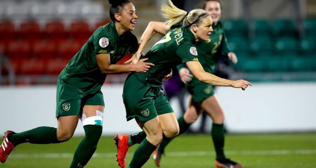 Ireland's Diane Caldwell celebrates scoring the first goal of the game with Rianna Jarrett during the Uefa Women's European Championship Qualifier against Greece  at  Tallaght Stadium. Photograph: Ryan Byrne/Inpho