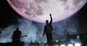 The Script on stage at the 3Arena on Thursday night for the first of three sold out concerts in Dublin   as part of the band's Moons and Sunsets tour. Photograph:  Crispin Rodwell/The Irish Times