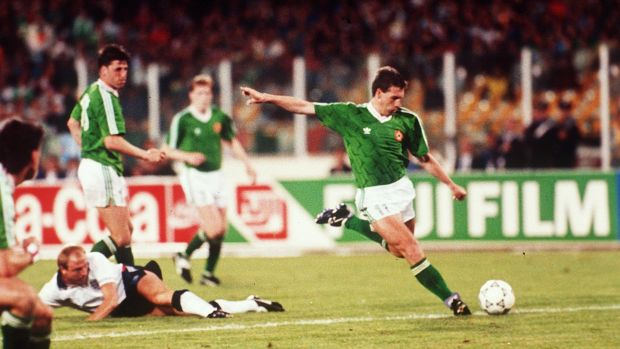 Kevin Sheedy scores for Ireland against England during the 1990 World Cup in Italy. Photograph: Billy Stickland/Inpho