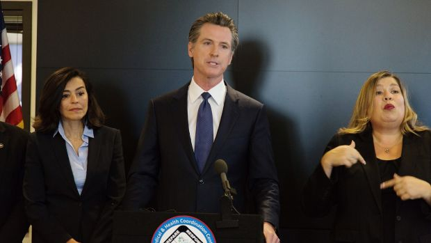 Gavin Newsom, governor of California, speaks during a news conference at the California State Capitol in Sacramento, California, this week. Photographer: Patrick Mouzawak/Bloomberg