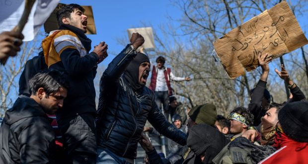 Migrants in the Turkey-Greece border buffer zone in Edirne: The EU will not  increase financial aid to Turkey in response to threats.  Photograph: Bulent Kilic