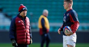 Eddie Jones and Owen Farrell ahead of England's clash with Wales at Twickenham on Saturday. Photograph: Andrew Couldridge/Reuters