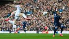 Luke Ayling of Leeds United scores his side's first goal at Elland Road. Photograph: Getty Images