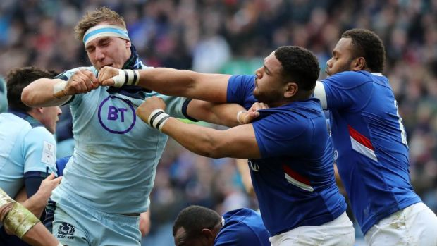 France tighthead Mohammed Haouas was sent off for a punch on Scotland's Jamie Ritchie. Photograph: David Rogers/Getty