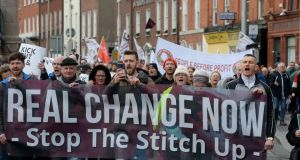 Coalition of groups march from  the Garden of Remembrance to support the Stop the Fine Gael/Fianna Fáil Stitch Up demonstration on Saturday. Photograph: Alan Betson