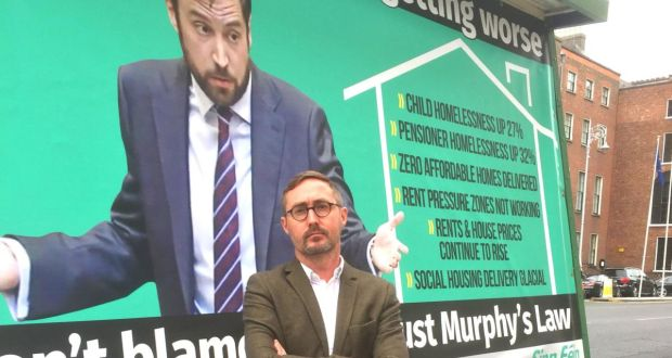 Sinn Féin housing spokesman Eoin Ó Broin marked Eoghan Murphy's first year as  Minister for Housing with a mobile billboard outside Government Buildings in Dublin, claiming the housing crisis was getting worse under his watch. Photograp: Cate McCurry/PA
