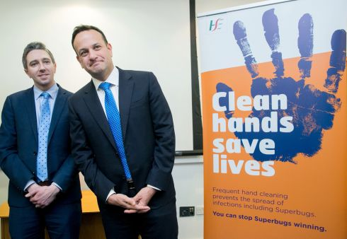 STOP THE SUPERBUGS: Minister for Health Simon Harris and Taoiseach Leo Varadkar during a visit to the Health Surveillance Centre on Gardiner Street, Dublin, to promote anti-coronavirus measures. Photograph: Gareth Chaney/Collins