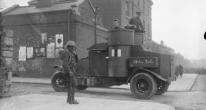 An armoured car at Mountjoy Prison, Dublin, during Republican hunger strike protests in April 1920. Photograph courtesy of the National Library of Ireland
