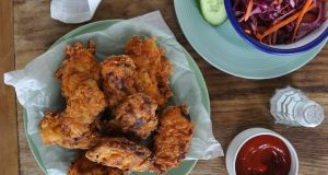 Buttermilk fried chicken with honey mustard slaw