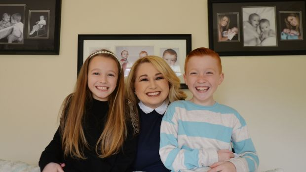 Debbie Morone and her nine-year-old twins, Isabella and Oscar. Photograph: Alan Betson
