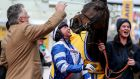 Trainer Paul Nicholls and Bryony Frost celebrate Frodon's victory at Cheltenham last year. Photograph: Dan Sheridan/Inpho