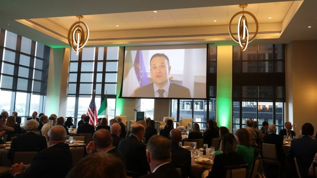 Taoiseach Leo Varadkar delivers a video message to the Team Ireland business leaders lunch in Washington DC. Photograph: Niall Carson/PA Wire