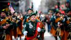 Bagpipers march on 5th Avenue during the annual in New York City during the 2019 St Patrick's Day Parade. Photograph: Johannes Eisele/AFP/Getty