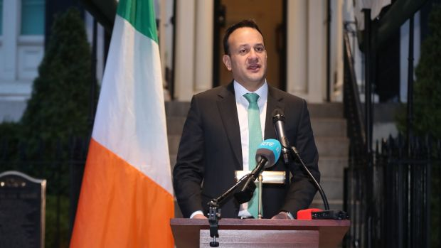 Taoiseach Leo Varadkar outlining the new measures at Blair House, Washington DC, on Thursday. Photograph: PA