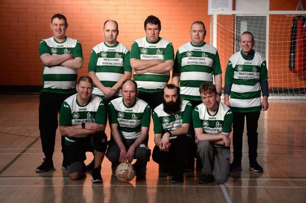 North County Dublin Mental Health football team, Over The Line. Back row from left: Ivan Carroll, James Teelan, Gareth Elliott, Martin Maloney and Anthony Conway. Front row: Shane Manton (clinical nurse specialist) David Withero, Mark Baldwin, and Kevin McMahon. Photograph: Dara Mac Dónaill