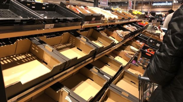 Tomatoes and other vegetables cleared out at Dunnes Stores, Blanchardstown Centre on Thursday. Photograph: The Irish Times