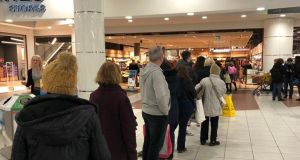Queues at Dunnes Stores, Blanchardstown Centre on Thursday. Photograph: The Irish Times