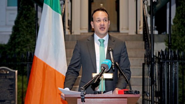 Taoiseach Leo Varadkar address the nation from Washington. 'We imagined people gathered around smartphones and televisions and radios back home, hanging on his every word. Like in the old wartime movies.' Photogrpah: Niall Carson/PA Wire