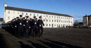 Templemore Garda students will effectively skip the final months of their training and becoming fully attested gardaí immediately to help tackle the crisis. Photograph: Brian Lawless/PA