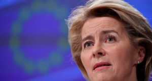 European Commission president Ursula von der Leyen during a press conference on Friday to present the economic response to the Covid-19 crisis. Photograph: Getty Images