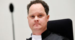 Prosecutor Thijs Berger at the criminal trial in Badhoevedorp, the Netherlands, against four suspects over the July 2014 downing of Malaysia Airlines flight MH17. Photograph: Piroschka van De Wouw