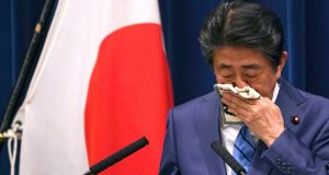 Japanese prime minister Shinzo Abe during his press conference in Tokyo on Saturday. Photograph: AP