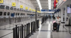 The international terminal at O'Hare Airport, Chicago,  is nearly devoid of travelers. PhotographScott Olson/Getty Images