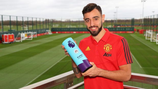 Bruno Fernandes has been crowned Premier League player of the month for February. Photograph: Alex Livesey/Getty