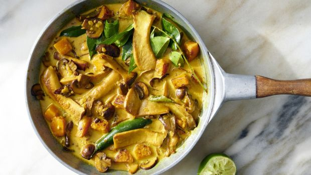 Winter squash with wild mushroom curry. Photograph: David Malosh/The New York Times.