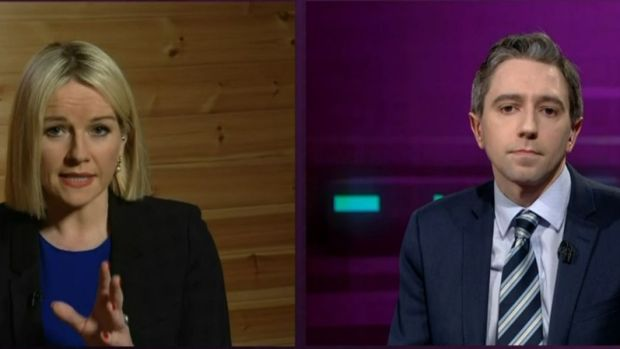Claire Byrne interviews Minister for Health on Monday night. Photograph: RTÉ