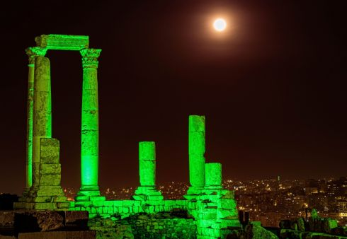 Temple of Hercules is seen during Tourism Ireland's annual Global Greening initiative, to celebrate the island of Ireland and St Patrick, in Amman, Jordan.