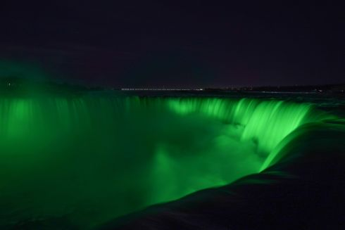 Niagara Falls is seen during Tourism Ireland's annual Global Greening initiative, to celebrate the island of Ireland and St Patrick.