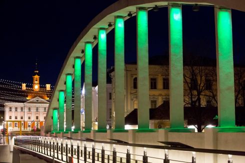 The Kaarsild Bridge in Tartu, Estonia. Tourism Ireland's annual Global Greening initiative, to celebrate the island of Ireland and St Patrick, sees hundreds of major landmarks around the world turn green for St Patrick's Day.