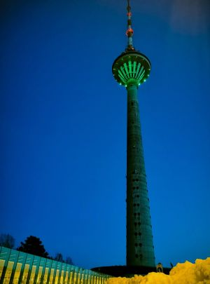 The TV Tower in Tallinn, Estonia Tourism Ireland?s annual Global Greening initiative, to celebrate the island of Ireland and St Patrick, sees hundreds of major landmarks around the world turn green for St Patrick's Day.