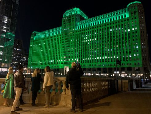 The Merchandise Mart in Chicago, joins Tourism Ireland's Global Greening initiative, to celebrate the island of Ireland and St Patrick.