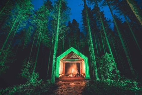 The Church Stone Shelter in the nature reserve of Kintulammi, Tampere (Finland), joins Tourism Ireland's Global Greening initiative, to celebrate the island of Ireland and St Patrick.