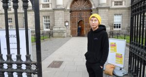 Aaron Koay (24), a Malaysian student at Trinity College Dublin  forced to leave his accommodation. Photograph: Dara Mac Dónaill