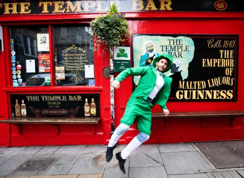 French Tourist Baptiste Dedinger photographed mid jig in Temple Bar Dublin during St Patrick Day. Photograph  Tom Honan/The Irish Times.