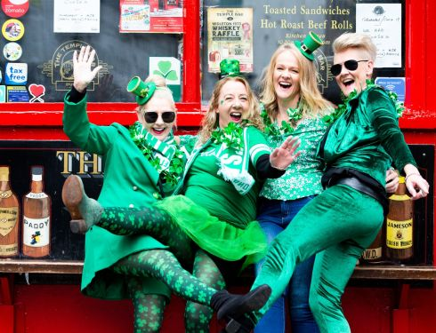 Tourists from Melbourne Australia from left Sharon Hodkison, Ginelle Williams  Wendy Mattingley and Kaz Samson photographed in Temple Bar, Dublin. Photograph Tom Honan/The Irish Times.