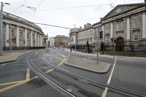 A deserted College Green on St. Patricks Day,  Dublin. Photograph Dara Mac Donaill / The Irish Times