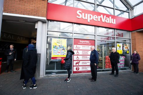 A view of people queueing up to enter SuperValu, Knocklyon, Dublin. Photo: Tom Honan/The Irish Times.