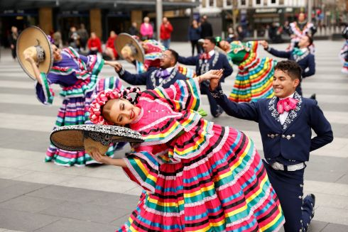 Dancers of the Smacht dance academy from the Mexican state of Chihuahua perform in front of Kings Cross Station, as the number of coronavirus cases grow around the world in London, Britain. Photograph John Sibley/REUTERS