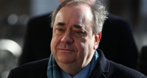 Former Scottish first minister Alex Salmond arrives at the high court in Edinburgh on Tuesday for the sixth day of his trial over accusations of sexual assault. Photograph: Andrew Milligan/PA Wire