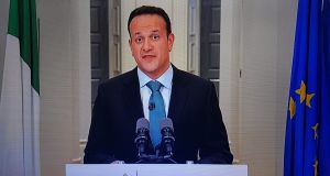 Taoiseach Leo Varadkar address the nation on coronavirus emergency on RTÉ1 television tonight. Screengrab: RTÉ1