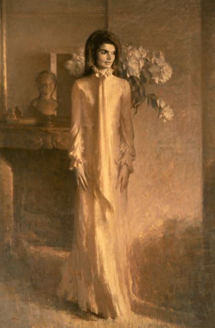 Jacqueline Kennedy Onassis in her official White House portrait as First Lady of the United States by Aaron Shikler in 1970. Photograph: White House Collection/White House Historical Association