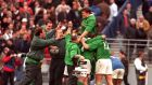 Six Nations 19/3/2000 France vs IrelandBrian O'Driscoll is surrounded by teamates�INPHO/Billy Stickland